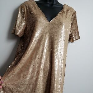 Tobi Gold Sequin Vneck Shift Mini Dress